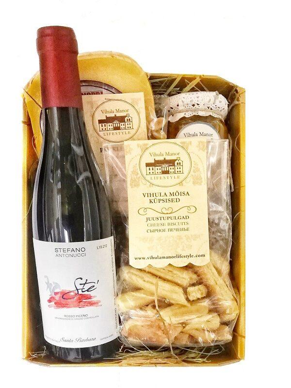 Kinkekomplekt Veinisõbra maitsed punase veiniga